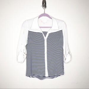 SKIES ARE BLUE Striped Roll-Tab Sleeve Top Size S